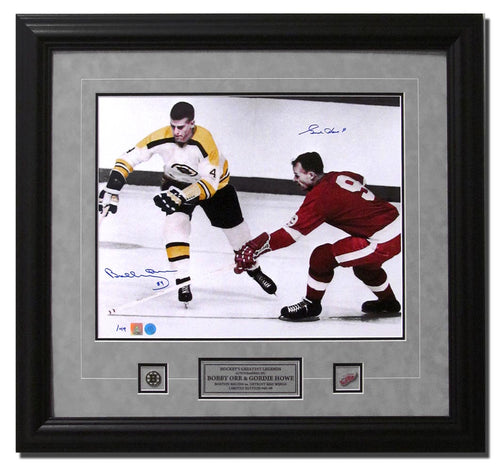 Bobby Orr & Gordie Howe Dual Signed Spotlight Hockey Immortals 31x23 Frame #/49