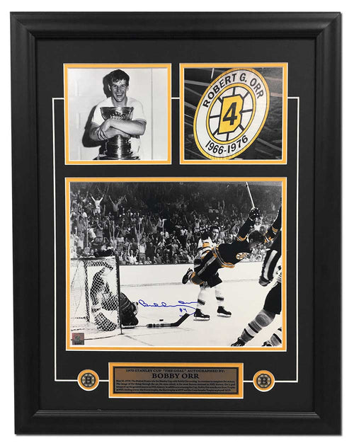 Bobby Orr Boston Bruins Autographed 1970 Stanley Cup Goal Collage 21x27 Frame