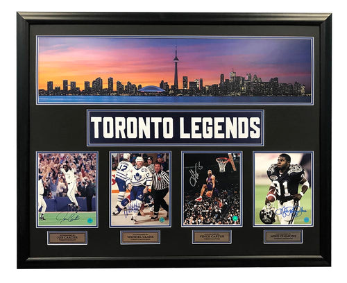Toronto Sports Legends Jays Leafs Raptors Argos Signed Panoramic 44x35 Frame
