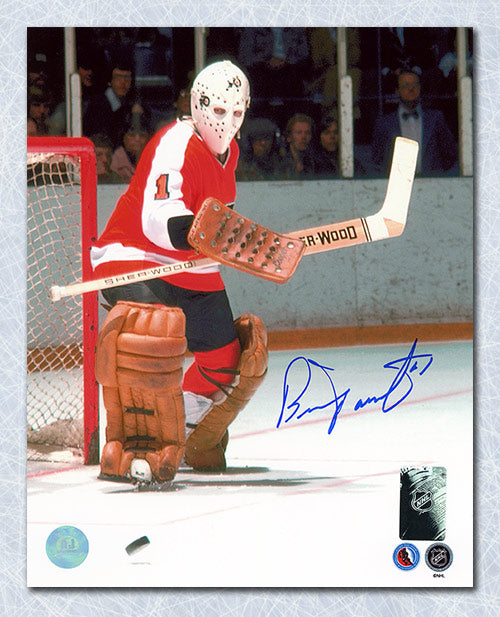 Bernie Parent Philadelphia Flyers Autographed Goal Defence 8x10 Photo