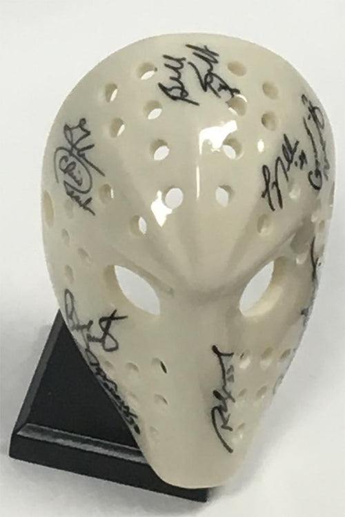 "Retro 6"" Hockey Goalie Mask 8 Autographs (Bernie Parent Billy Smith)"