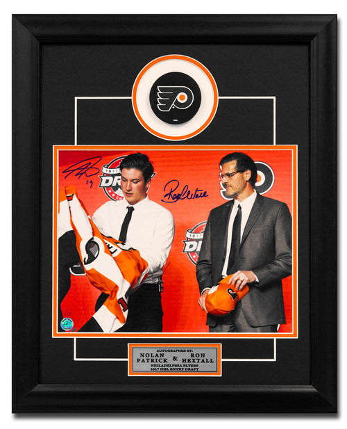 Nolan Patrick & Ron Hextall Dual Signed Flyers Draft Day 23x19 Puck Frame /17