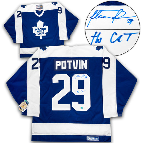 Felix Potvin Toronto Maple Leafs Signed with Cat Note Retro CCM Hockey Jersey