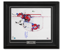 Carey Price Montreal Canadiens Autographed Overhead Save 24x28 Frame
