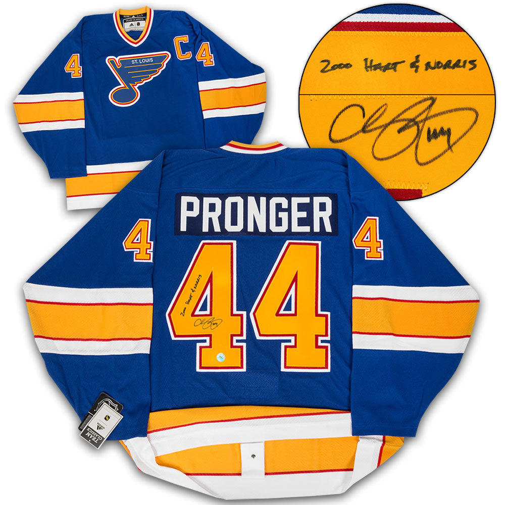 online store 25f08 a91ef Chris Pronger St. Louis Blues Autographed Adidas Authentic Vintage Hockey  Jersey with 2000 Hart & Norris Note