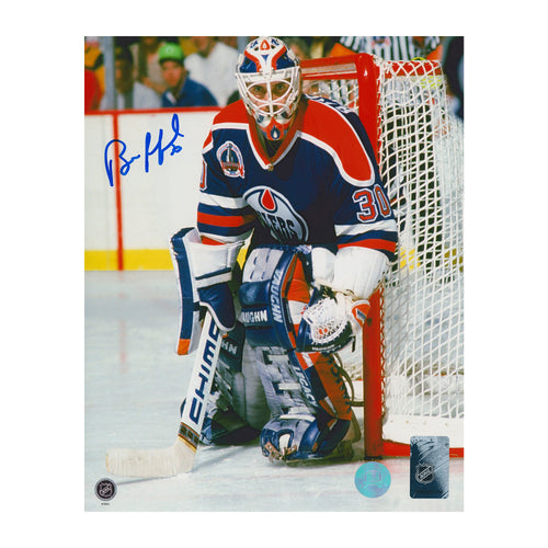 Bill Ranford Edmonton Oilers Autographed 1990 Stanley Cup Action 8x10 Photo