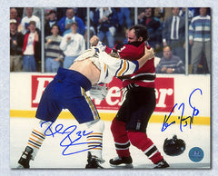 Rob Ray vs Ken Daneyko Dual Signed Sabres Devils Fight 8x10 Photo