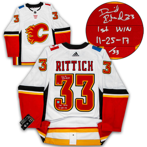 David Rittich Calgary Flames Signed & Dated 1st Win Adidas Authentic Jersey #/33