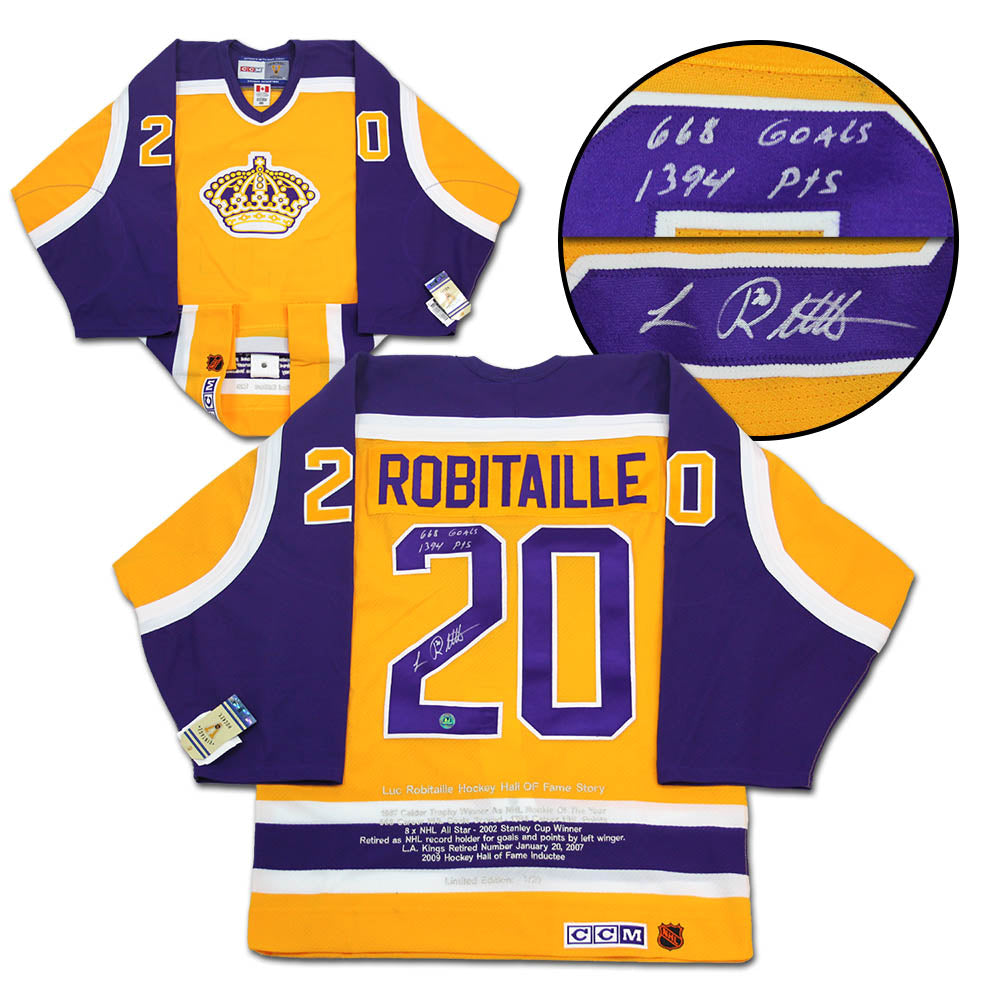new style 3bc01 f6f7b Luc Robitaille L.A. Kings Signed & Inscribed Scoring Stats CCM Authentic  Vintage Hockey Jersey