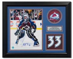 Patrick Roy Colorado Avalanche Signed Retired Jersey Number 20x24 Frame