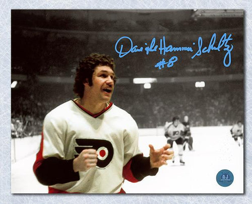 Dave The Hammer Schultz Philadelphia Flyers Signed Spotlight Fight 8x10 Photo