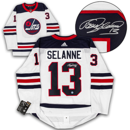 Teemu Selanne Winnipeg Jets Autographed Heritage Adidas Authentic Hockey Jersey