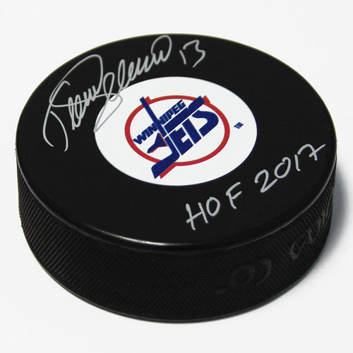 Teemu Selanne Winnipeg Jets Autographed Hockey Puck with HOF Inscription
