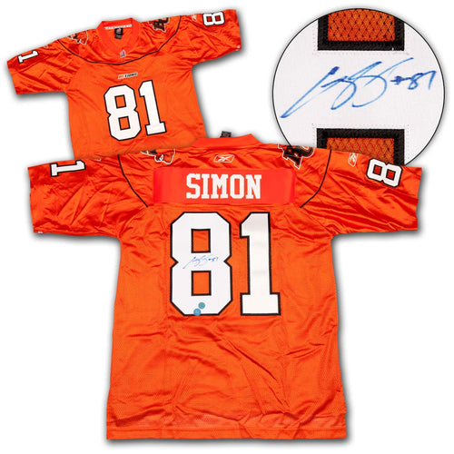 Geroy Simon B.C. Lions Autographed Custom CFL Football Jersey