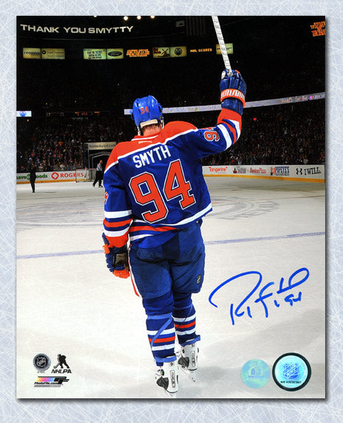 Ryan Smyth Edmonton Oilers Autographed Last Game Farewell Salute 8x10 Photo