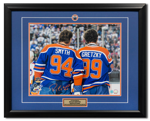 Ryan Symth Edmonton Oilers Signed Heritage Legends Game Gretzky 25x31 Frame