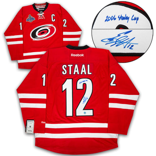 Eric Staal Carolina Hurricanes Signed   Inscribed 2006 Stanley Cup Hockey  Jersey 34aba961b