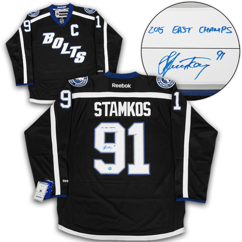 super popular ba8af 8b799 Steven Stamkos Tampa Bay Lightning Signed Black Bolts Premier Jersey with  2015 East Champs Note