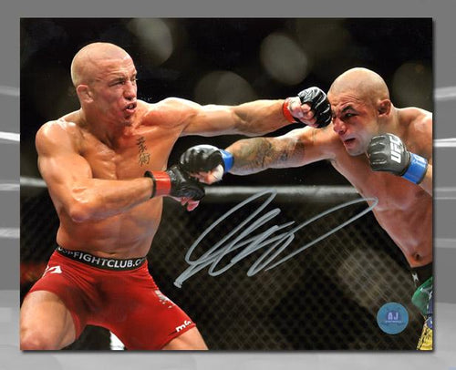 Georges St. Pierre GSP Autographed UFC Fight Head Punch 8x10 Photo