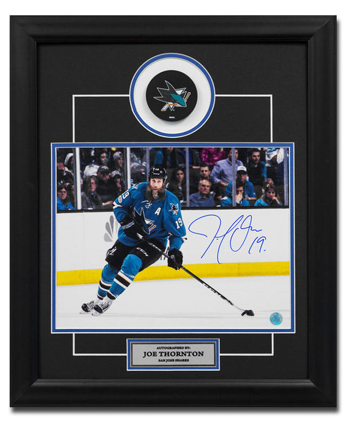 Joe Thornton San Jose Sharks Autographed Hockey Playmaker 19x23 Frame