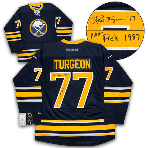 Pierre Turgeon Buffalo Sabres Signed Reebok Hockey Jersey with 1st Pick 87 Note