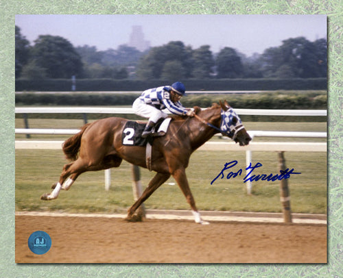Ron Turcotte Autographed Secretariat Belmont Stakes Color Riding 8x10 Photo