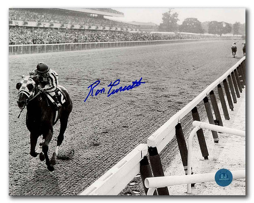 Ron Turcotte Autographed Secretariat Triple Crown Victory Look Back 8x10 Photo