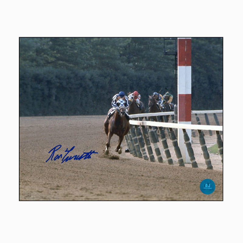 Ron-Turcotte-Autographed-Secretariat-In-Front-At-Belmont-Stakes-8x10-Photo
