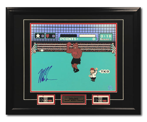 Mike Tyson Autographed Punch-Out NES Boxing Video Game 31x25 Frame