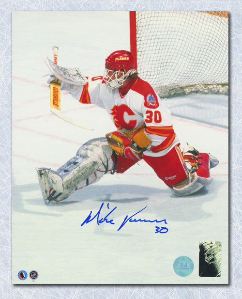 Mike Vernon Calgary Flames Autographed 1989 Stanley Cup Finals 8x10 Photo