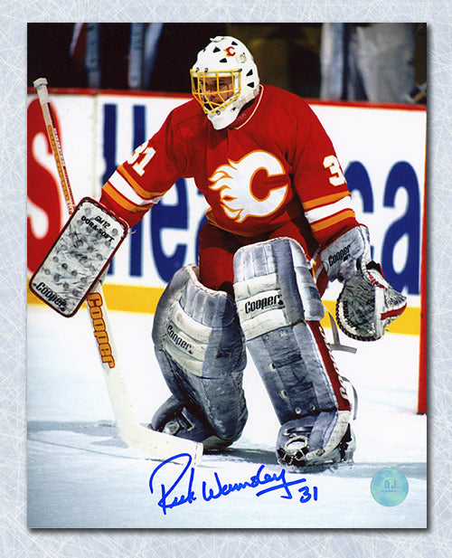 Rick Wamsley Calgary Flames Autographed Goalie 8x10 Photo