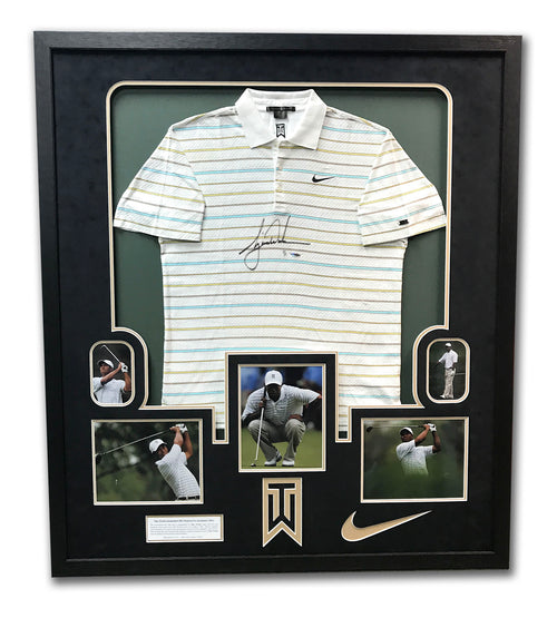 Tiger Woods Tournament Worn & Autographed Nike Golf Polo In 43x49 Frame UDA 1/1