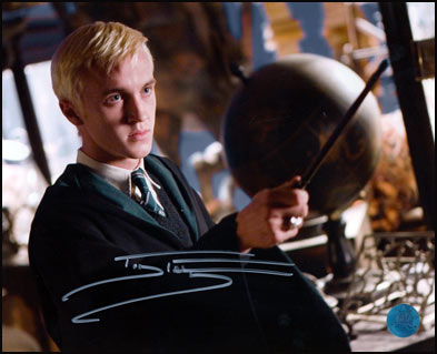 Tom Felton Autographed Harry Potter Draco Malfoy Performing spell 8x10 Photo