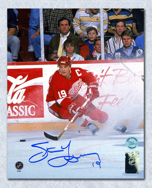 Steve Yzerman Detroit Red Wings Autographed Ice Spray 8x10 Photo