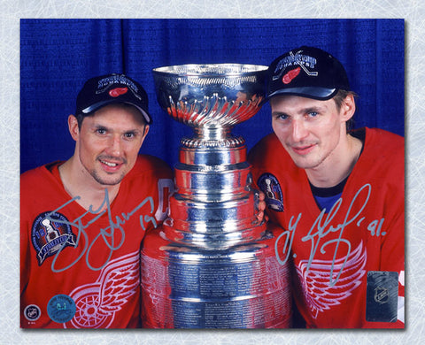 Steve Yzerman Detroit Red Wings Autographed Ice Spray Action 16x20 Photo