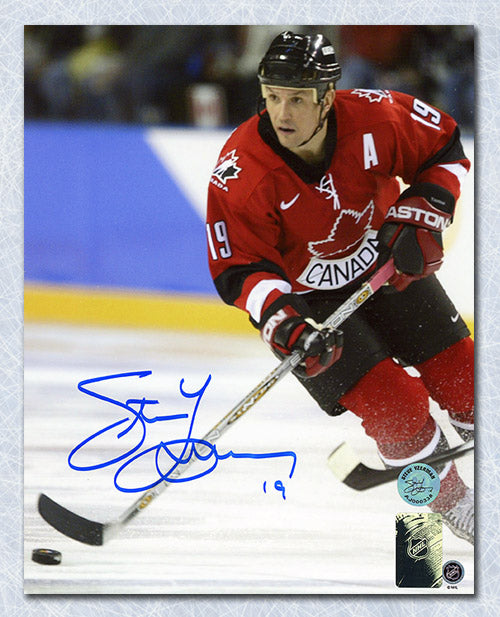 Steve Yzerman Team Canada Autographed 2002 Olympic Hockey Action 8x10 Photo