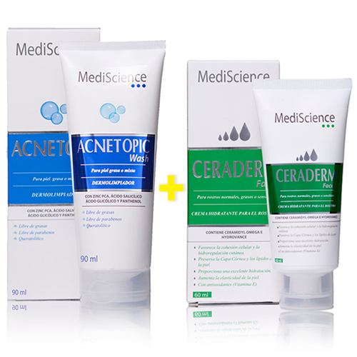 Pack Acnetopic Wash 90mL + Ceraderm Face 60mL