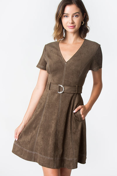 Sugarlips Clio Suede Dress