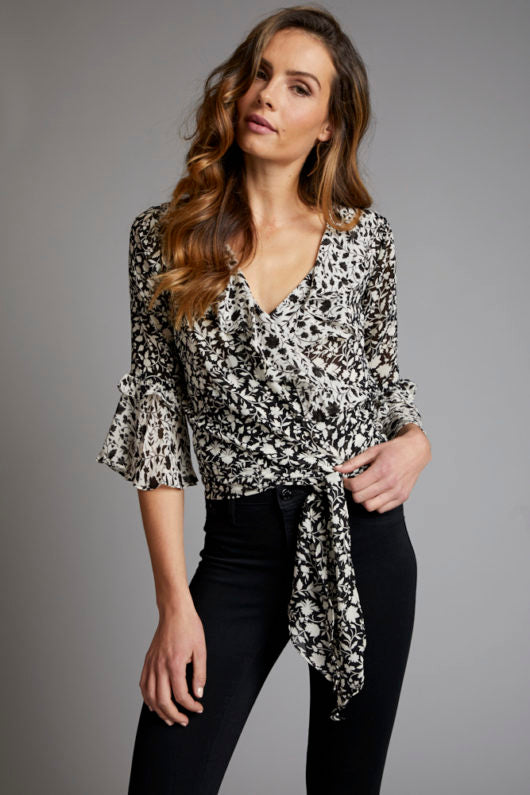Red Haute Floral Wrap Blouse