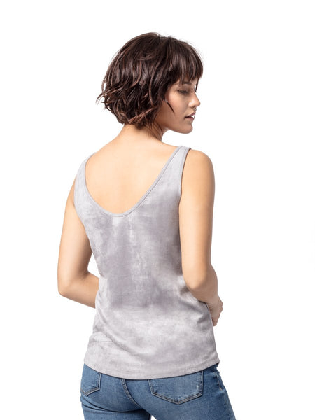 Astars Carolina Vegan Suede Tank in Silver