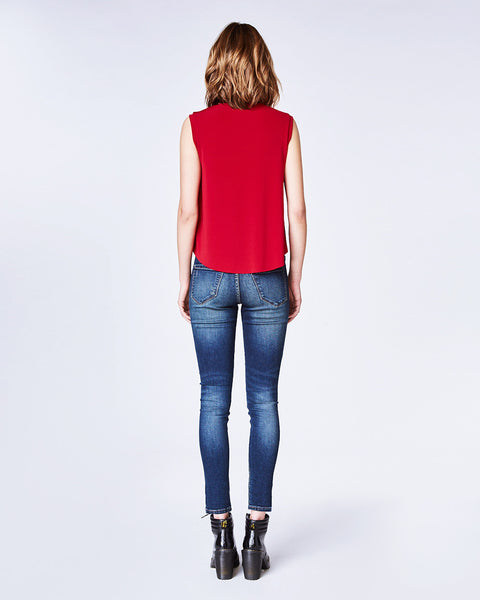 Nicole Miller Red Jewel Neck Tank