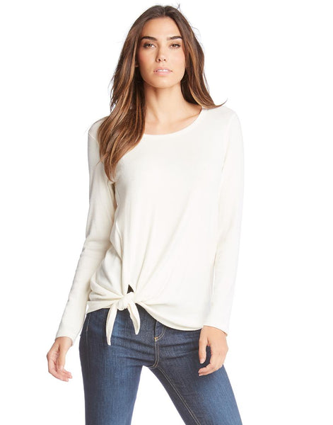 Fifteen-Twenty Cream Long Sleeve Side Tie Top