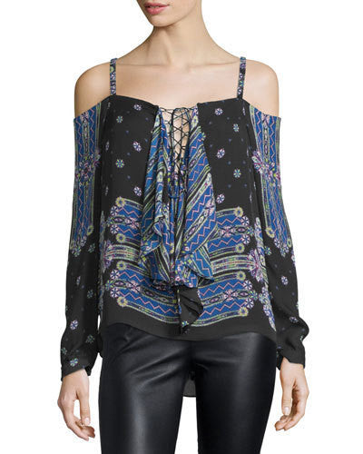 Nicole Miller Lace Up Cold Shoulder Blouse
