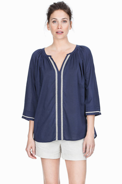 3/4 Sleeve Split Neck Top - Navy