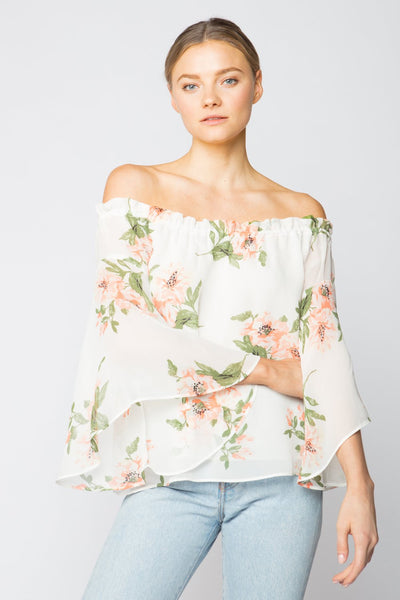 Red Haute Off the Shoulder Floral Print Top