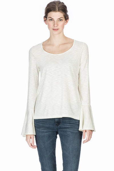 Lilla P Winter White Ruffle Sleeve Top