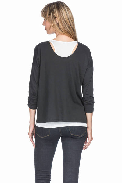 Lilla P 3/4 Sleeve Scoop Neck Black/White