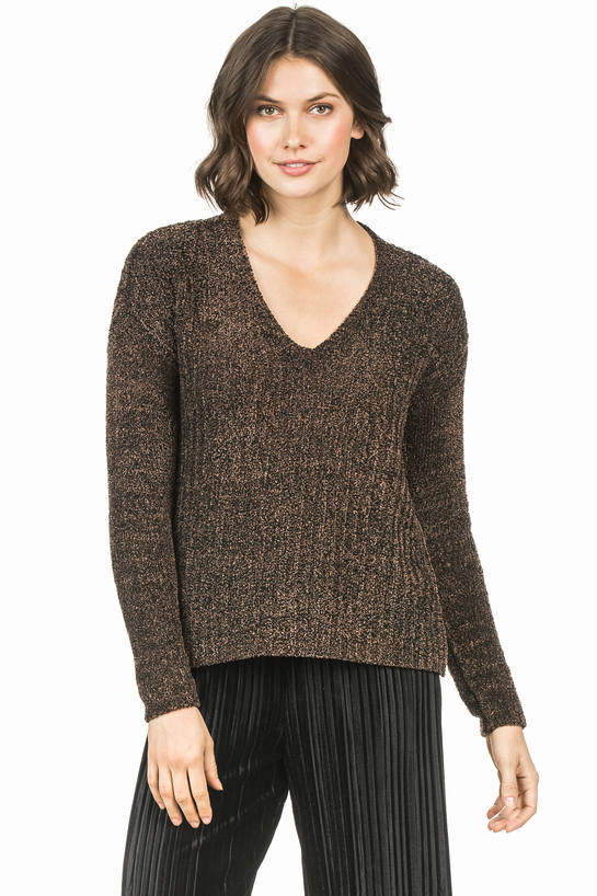 Lilla P Open Back V-Neck Sweater Black/Tan