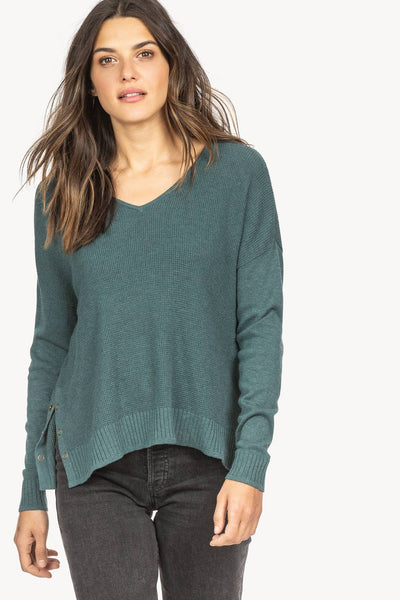 Lilla P Side Snap V-neck - Lagoon