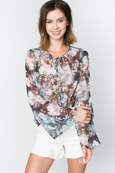 Sugarlips Maddie Floral Sheer Top